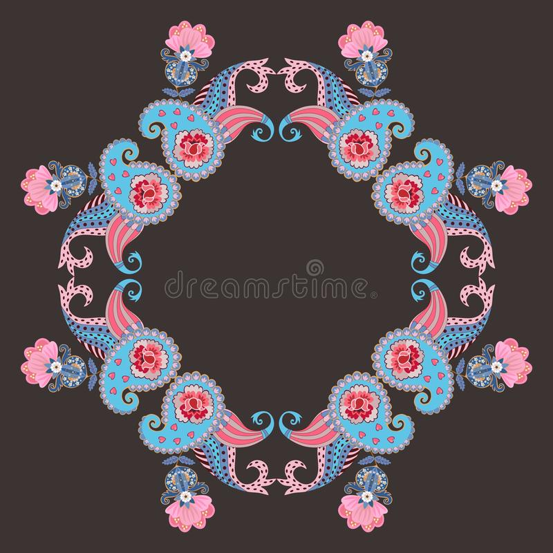 Beautiful card with gentle paisley ornament and pink flowers isolated on black background in vector. Ethnic style. royalty free illustration