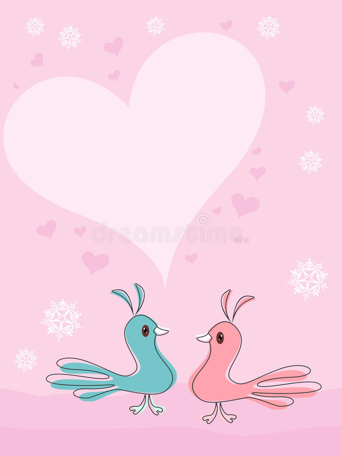 Download A Beautiful Card With Love Birds Stock Vector - Image: 22854755