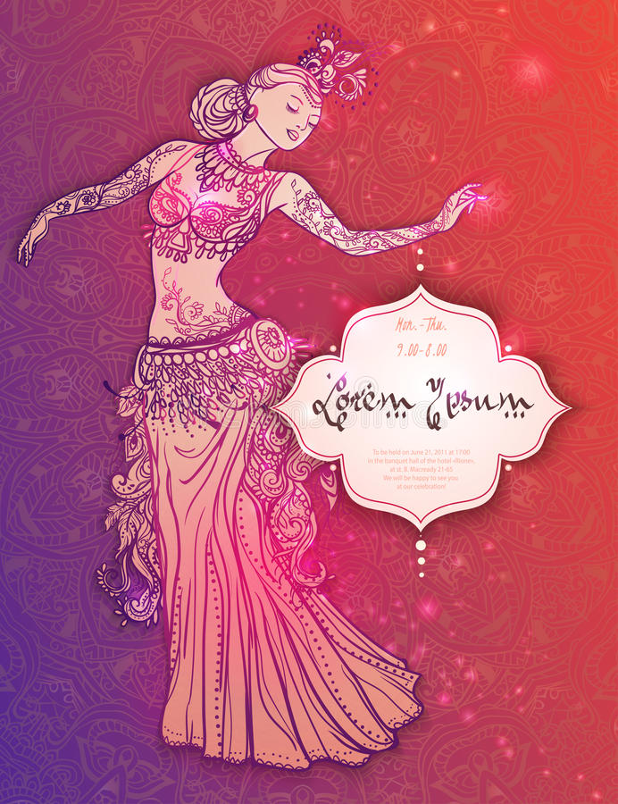 Beautiful card. Ornament beautiful card with girl belly dance. Geometric element hand drawn. Perfect cards for any other kind of design, birthday and other stock illustration