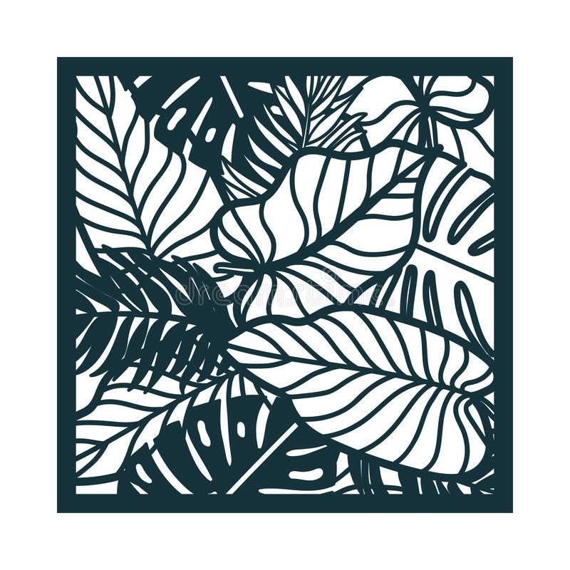 Beautiful card with palm tree leaves. Rain forest motif. stock illustration