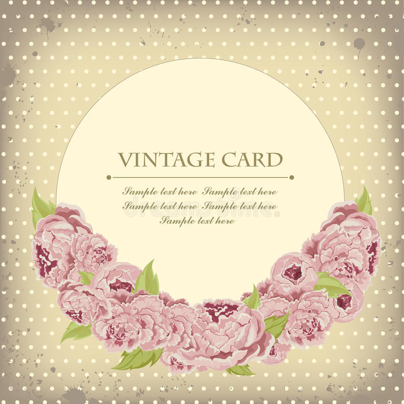 Beautiful card with peonies royalty free stock image