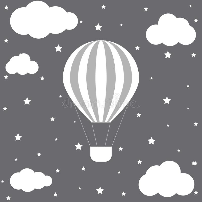 Beautiful card template with hot air balloon, clouds and stars. vector format stock illustration
