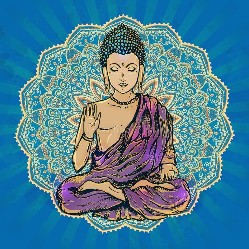 Beautiful card vector. Drawing of a Buddha statue. Art vector illustration of Gautama Buddhism Religion stock illustration