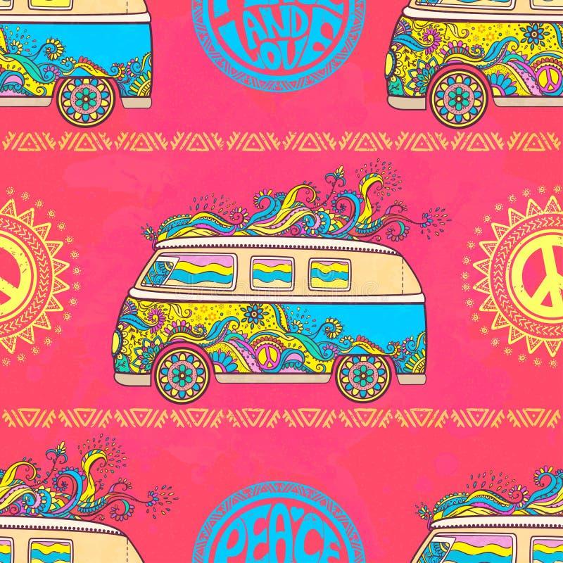 Beautiful card vector. Hippie vintage car a mini van. Hippy color vector illustration. Retro 1960s, 60s, 70srr stock illustration
