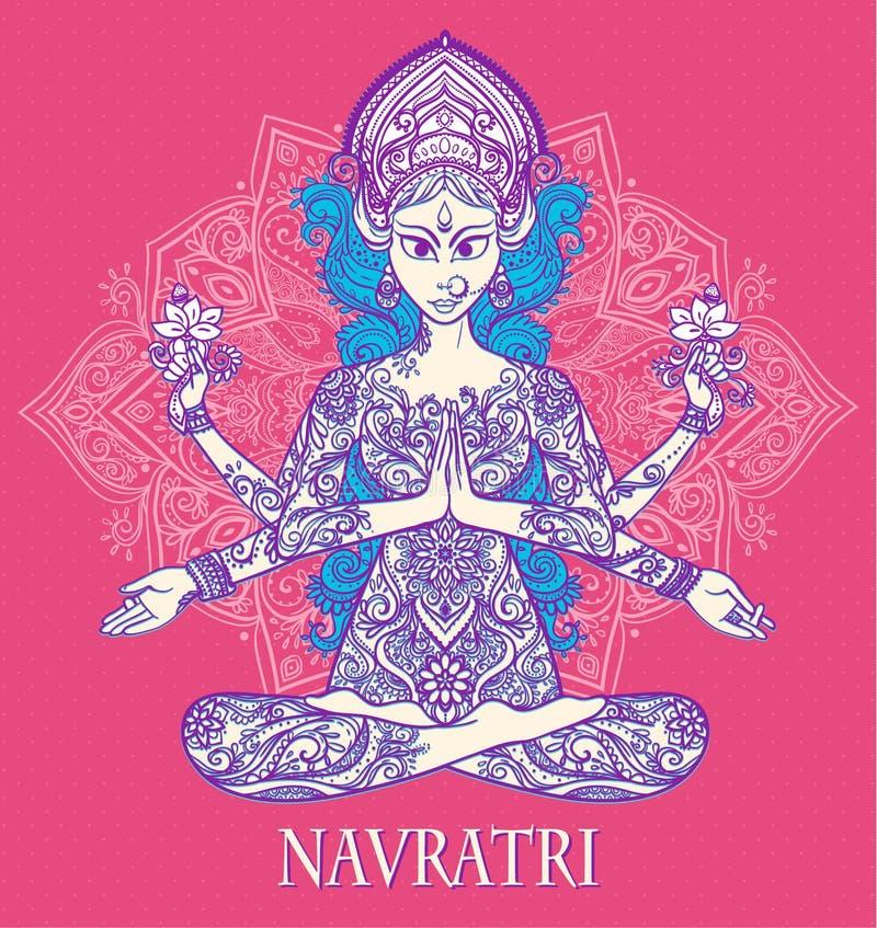 Beautiful card vector. Ornament card with of Maa Durga. Illustration of Happy Navratri and Happy Diwali. Happy Maha Shivaratr. Yoga meditation pose Balance royalty free illustration