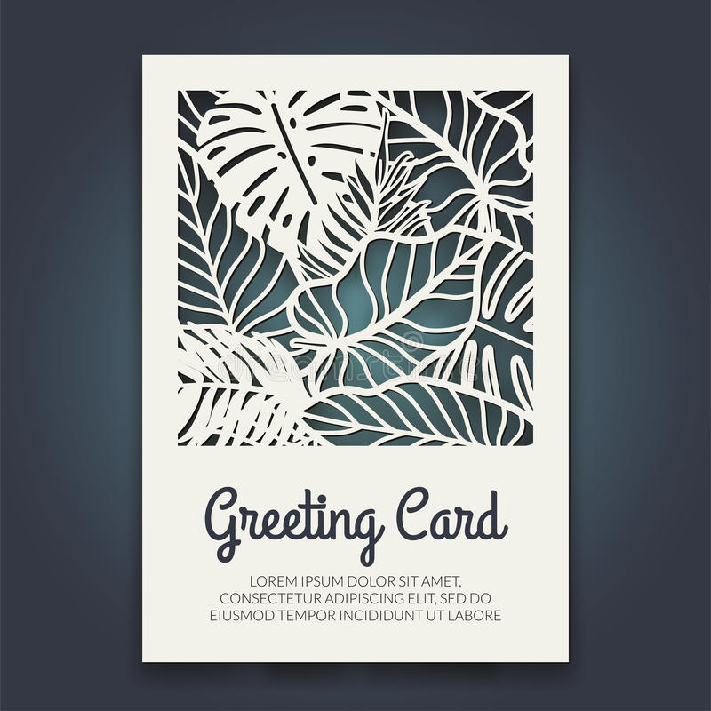 Free Beautiful Card With Palm Tree Leaves. Rain Forest Motif. Stock Photography - 95297622