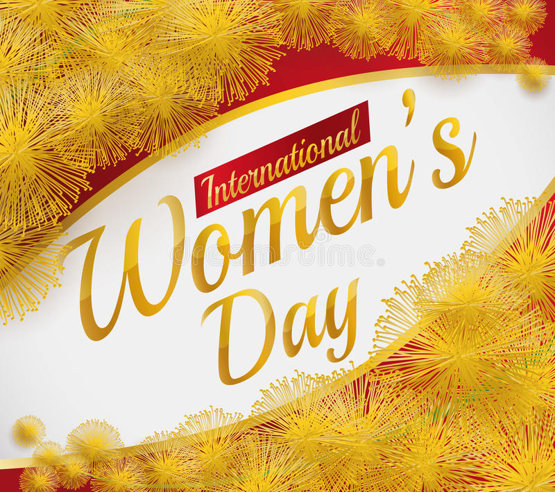 Beautiful Card for Women's Day with Mimosa Flowers and Golden Text, Vector Illustration royalty free stock images