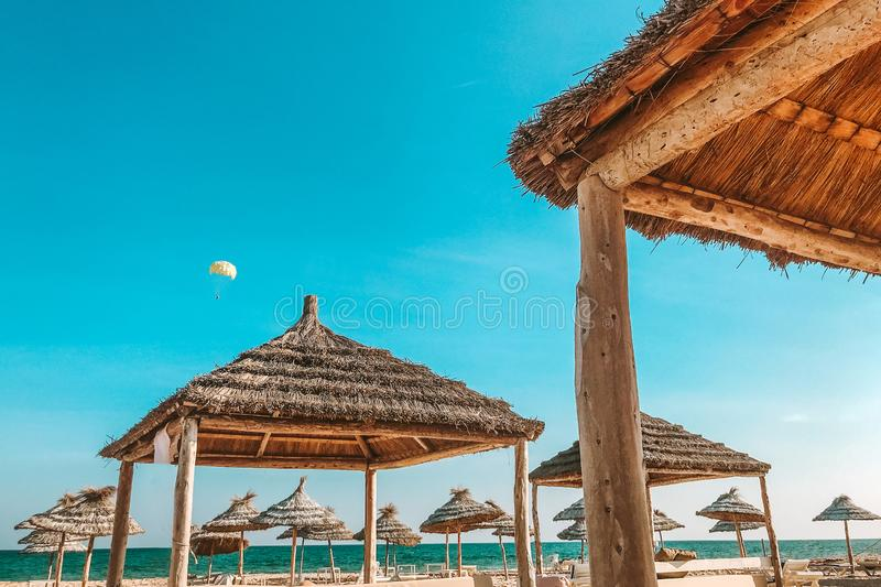Beautiful caribbean beach with pergola in Dominican Republic royalty free stock photo