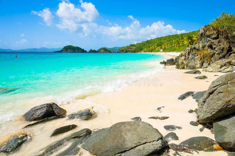 Beautiful Caribbean beach. Beautiful pristine Carribean beach in Saint John in the United States Virgin Islands royalty free stock image