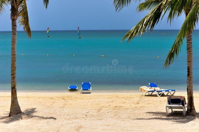 Beautiful caribbean lagoon stock photo