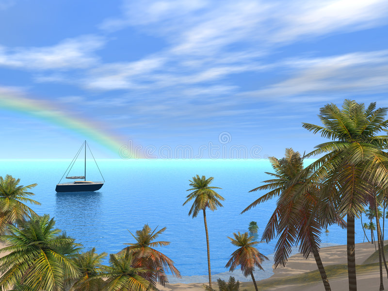 Beautiful Caribbean Lagoon. A Beautiful Caribbean Lagoon with Boat and Rainbow royalty free illustration