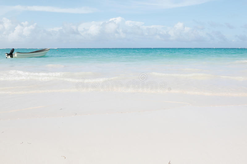 Beautiful caribbean sea with a speed boat stock photos