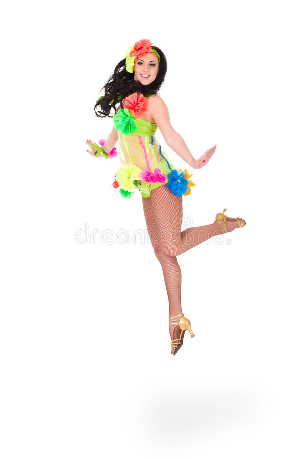 Beautiful carnival dancer woman jumping. Against isolated white background stock images