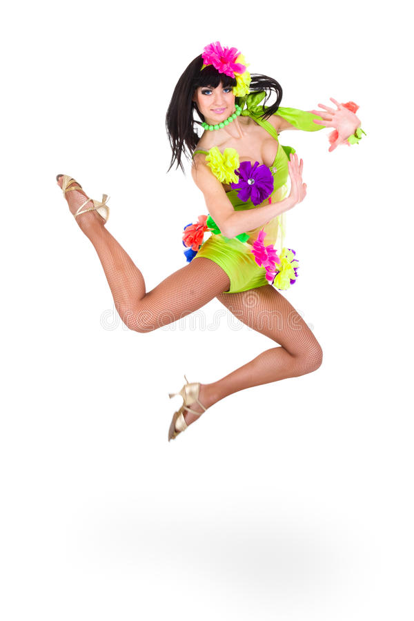 Beautiful carnival dancer woman jumping. Against isolated white background stock photos