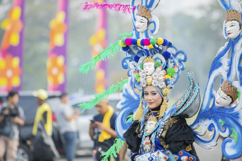 Beautiful carnival model on annual parade stock images