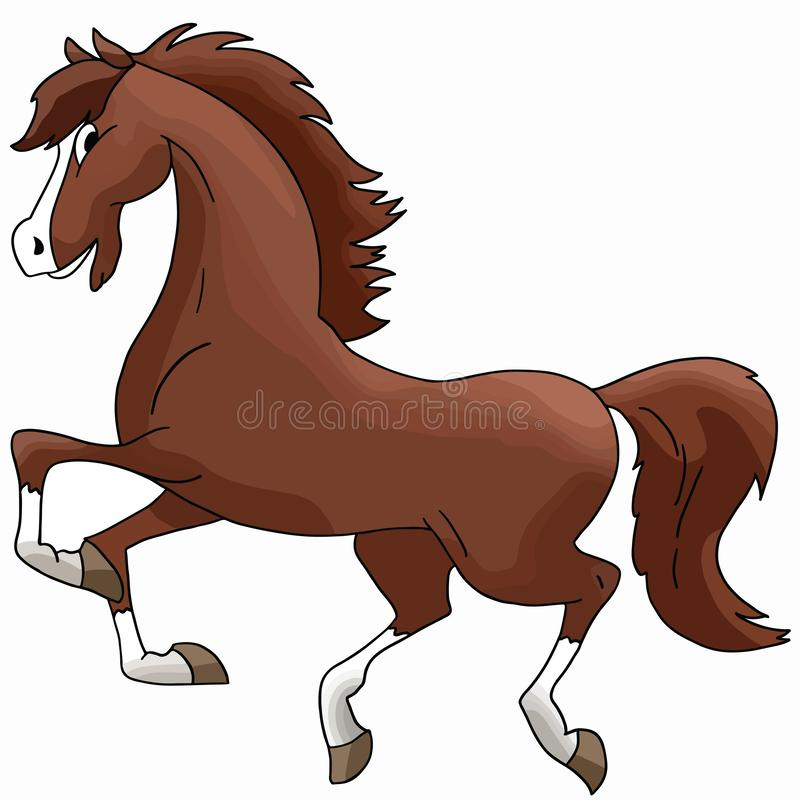 Beautiful cartoon brown horse galloping freely vector stock illustration