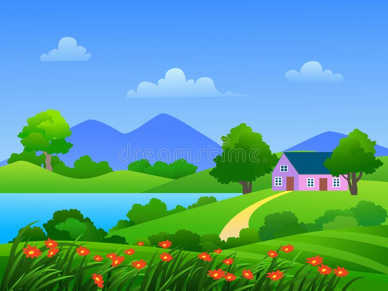 Beautiful and relaxing cartoon countryside landscape. Beautiful cartoon countryside landscape with green meadow, flowers and lake in blue sky vector illustration