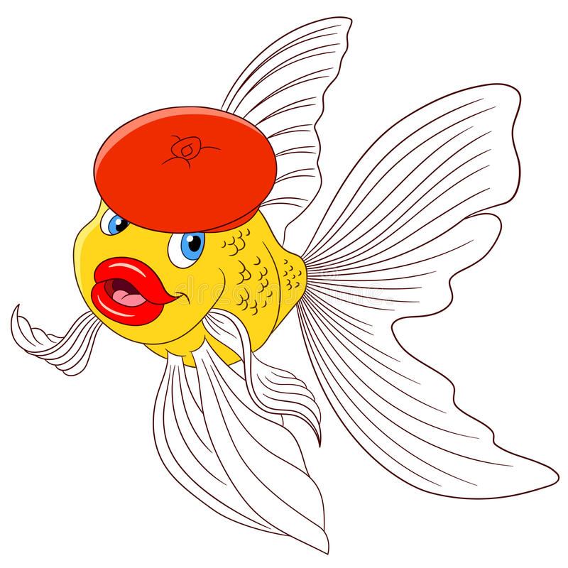 Beautiful cartoon goldfish in a red beret stock illustration