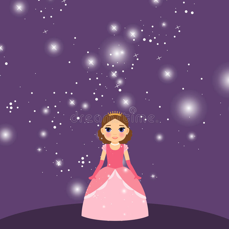 Beautiful cartoon princess on violet background. Beautiful cartoon princess with lights on the violet background. Vector illustration stock illustration