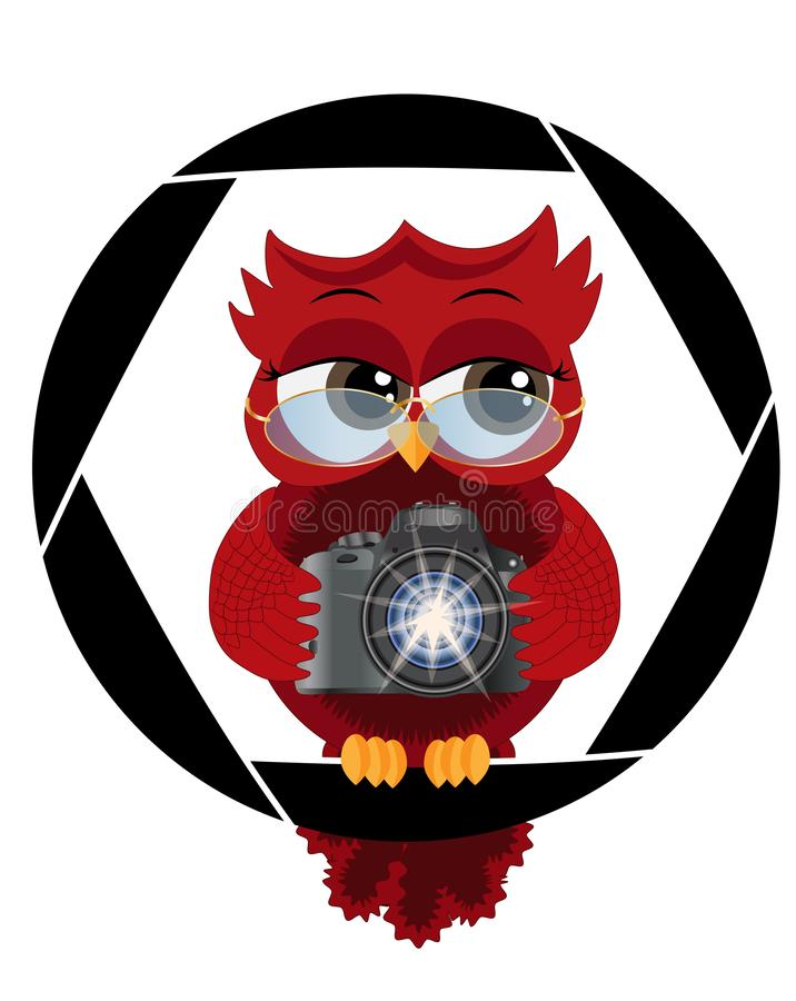 A beautiful cartoon red owl with a camera sits on the camera\'s diaphragm. Concept photography, vocations vector illustration