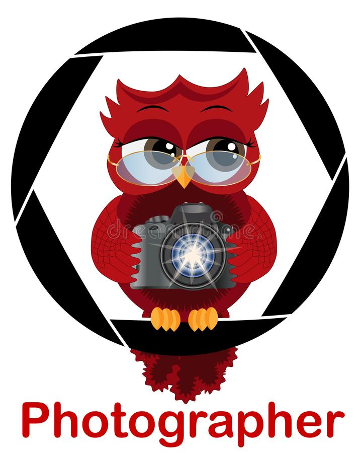 A beautiful cartoon red owl with a camera sits on the camera\'s diaphragm. Concept photography, vocations, photo business royalty free illustration