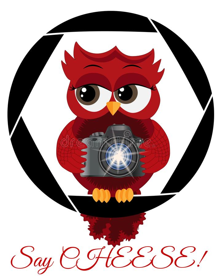 A beautiful cartoon red owl with a camera sits on the camera\'s diaphragm. Concept photography, vocations, photo business. Inscription Say cheese stock illustration