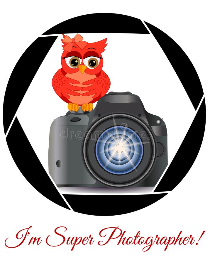 Beautiful cartoon red owl sits on the button Start the camera in the frame of the camera\'s aperture. Concept photography, royalty free illustration