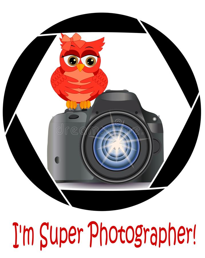 Beautiful cartoon red owl sits on the button Start the camera in the frame of the camera\'s aperture. Concept photography, vector illustration