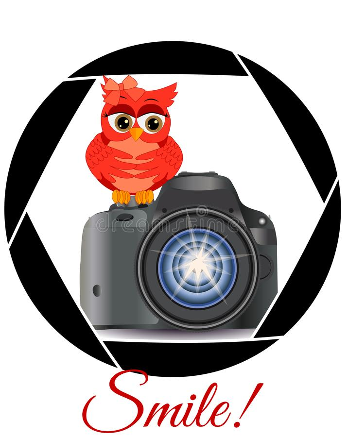 Beautiful cartoon red owl sits on the button Start the camera in the frame of the camera\'s aperture. Concept photography, stock illustration