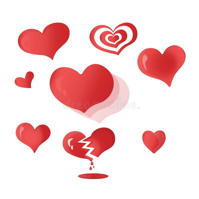 Great cartoon Hearts-set. Beautiful cartoon-shaped Hearts-set. Great cartoon Hearts-set image vector illustration