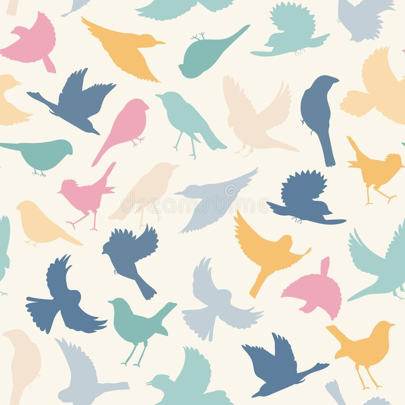 Beautiful cartoon template with colorful birds for wallpaper design. Vector seamless pattern. Colorful vector design stock illustration