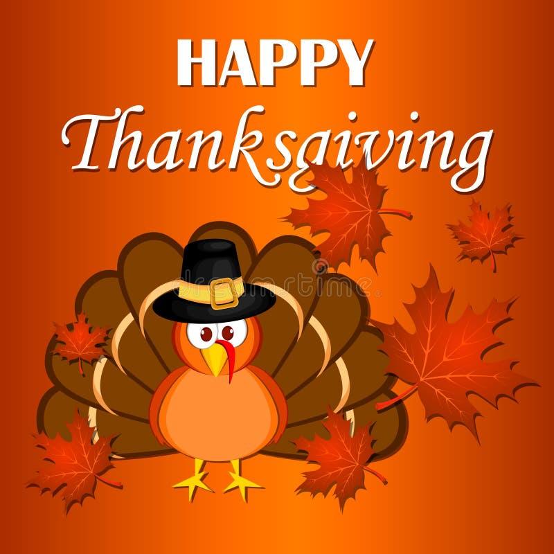Beautiful cartoon turkey bird. Happy Thanksgiving celebration. Orange background. Usable as poster, banner, or postcar stock illustration