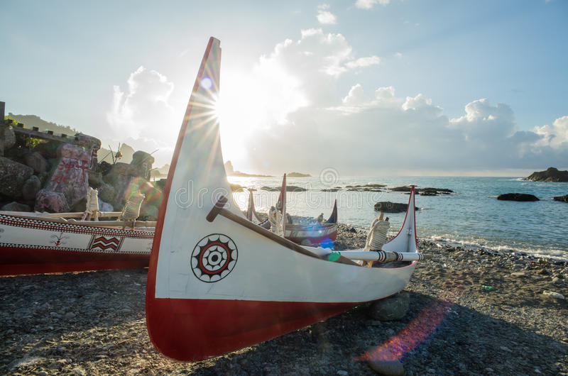 Beautiful carving boat at Orchid Island, Taitung royalty free stock photo