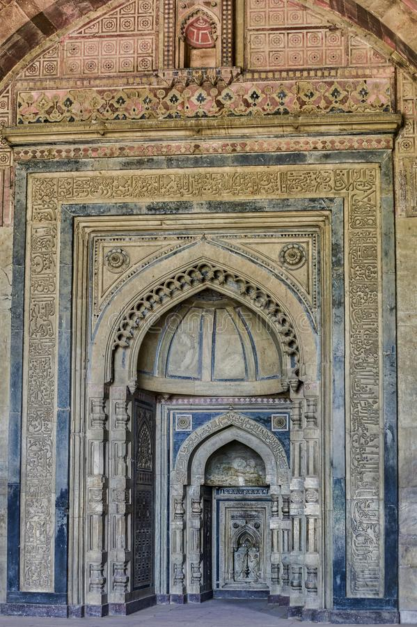 Beautiful carving on White Marble Mihrabs Prayer Niches inside Purana Qila` Old Fort DELHI. 12-jun-2004-Beautiful carving on White Marble Mihrabs Prayer Niches royalty free stock images