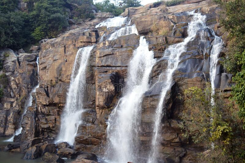 Beautiful huge jonha waterfall of Ranchi ,india. Beautiful cascade with huge white water bodies, the massive jonha waterfall of ranchi, it is the one of the royalty free stock photo