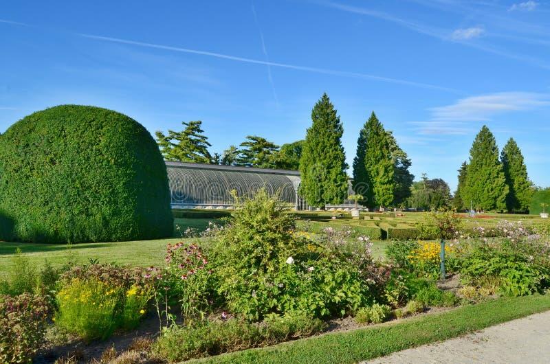 Beautiful castle garden, castle Lednice - Historical Lednice - V stock images