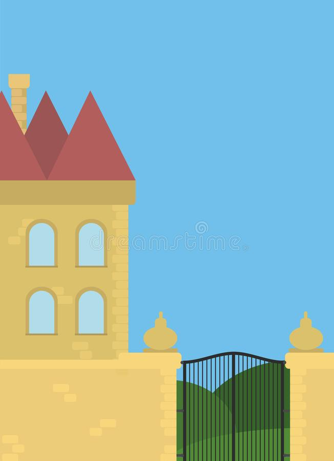 Beautiful castle illustration with muted colors royalty free stock image