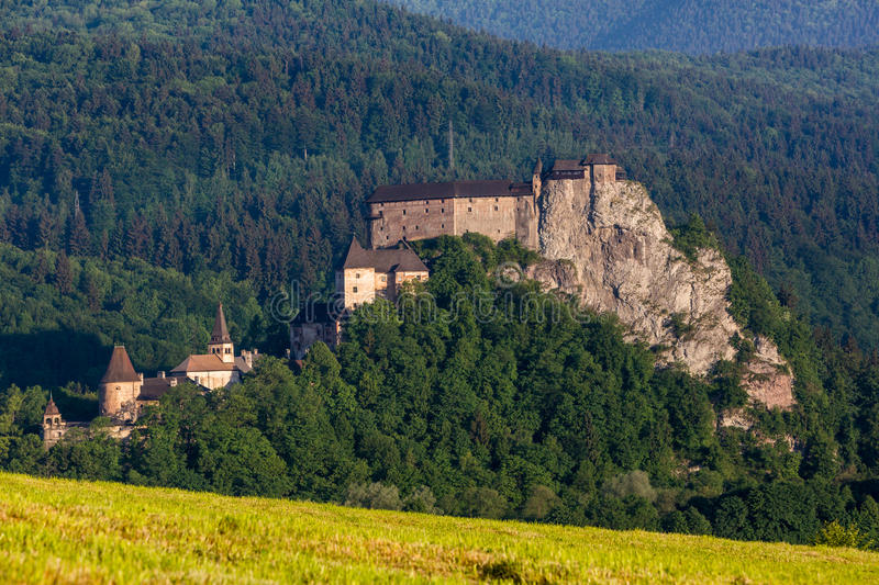 Beautiful castle Oravsky Podzamok near Dolny Kubin in Slovakia stock image