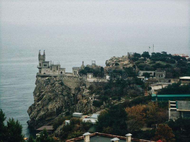 Beautiful Castle Swallow`s Nest in Yalta royalty free stock photos