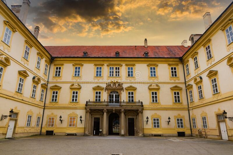 Beautiful castle in Valtice with wonderful sunset sky, South Moravia, popular travel destination in Czech Republic royalty free stock images