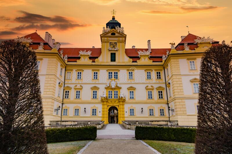 Beautiful castle in Valtice with wonderful sunset sky, South Moravia, popular travel destination in Czech Republic stock photography