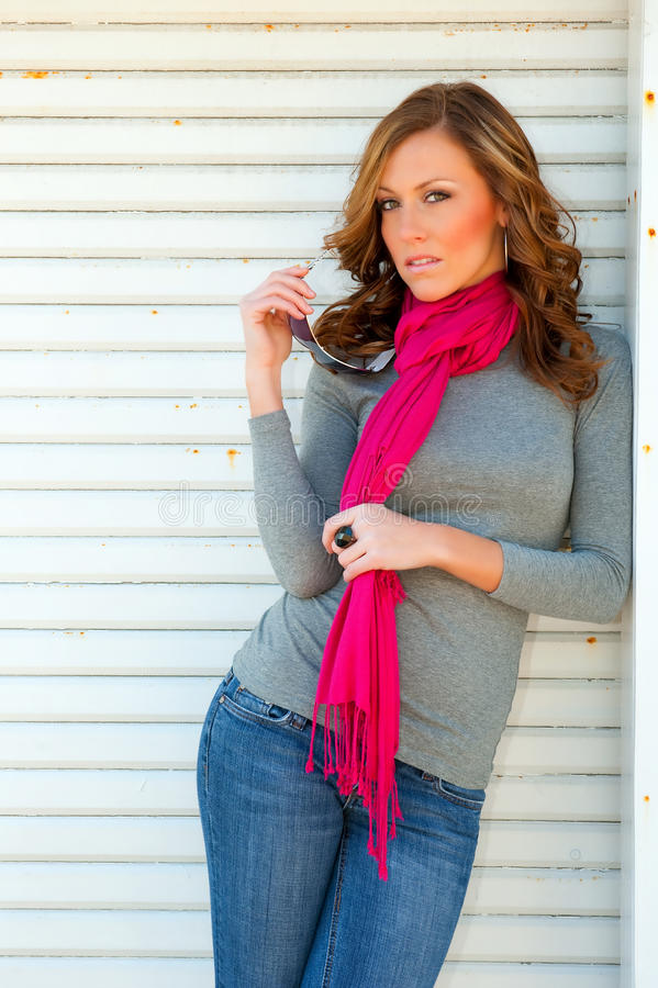Download Beautiful casual woman stock photo. Image of denim, scarf - 13474214