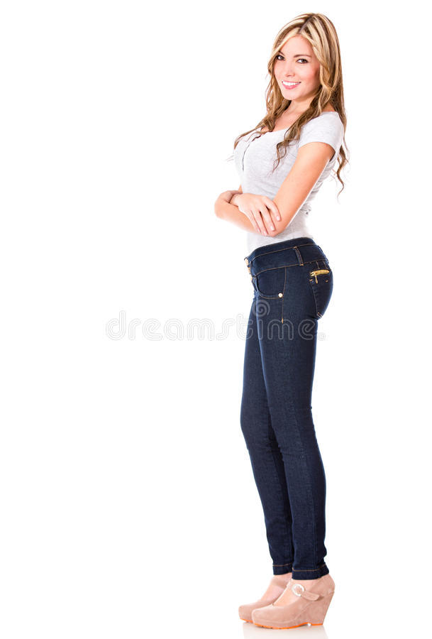 Download Beautiful casual woman stock image. Image of jeans, beautiful - 27664363