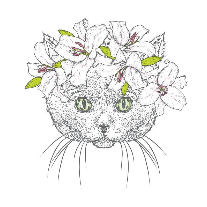 A Beautiful Cat In A Wreath Of Lilies. Lovely Kitten In A Flower ...