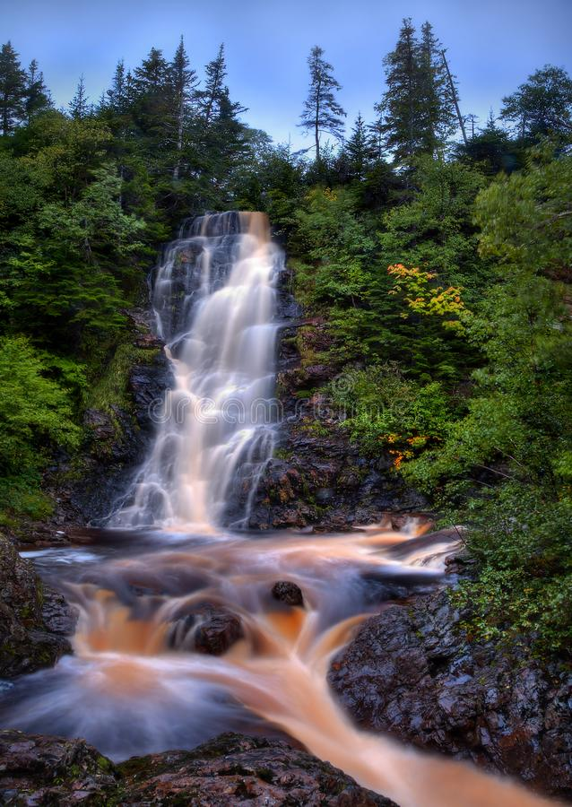 Caramel Waterfall in Newfoundland, Canada stock images
