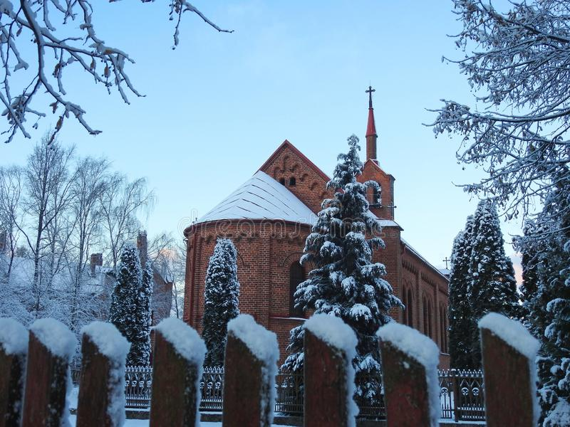 Beautiful catholic church in Silute town, Lithuania royalty free stock photos