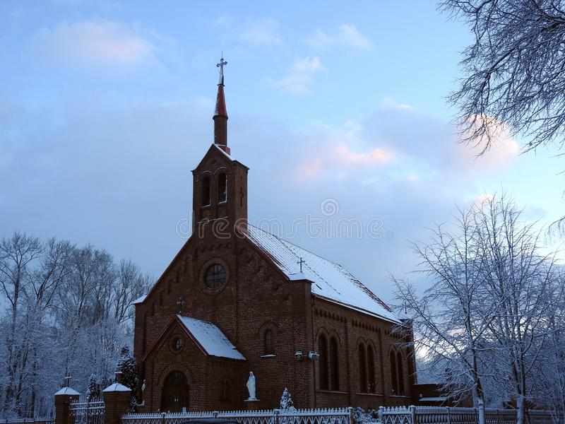 Beautiful catholic church in Silute town, Lithuania stock images