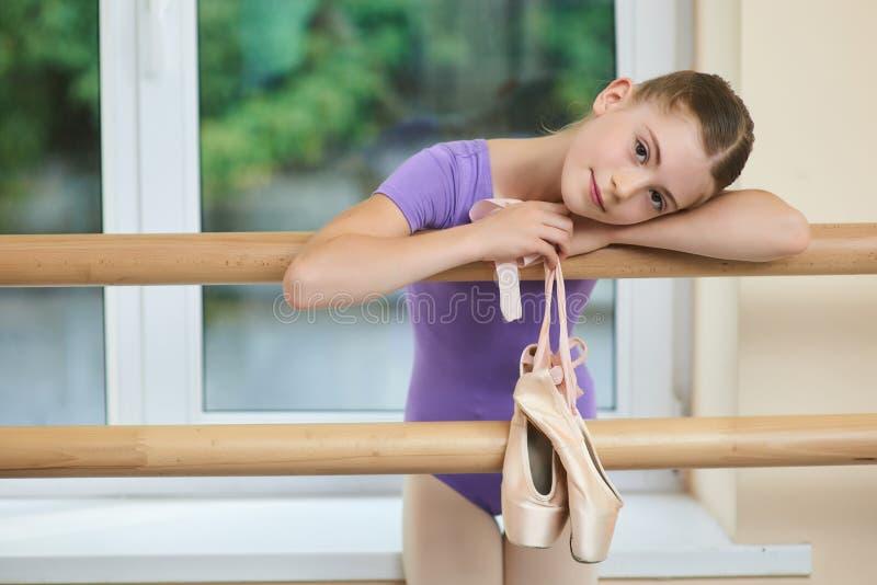 Beautiful caucasian child at ballet studio. stock images