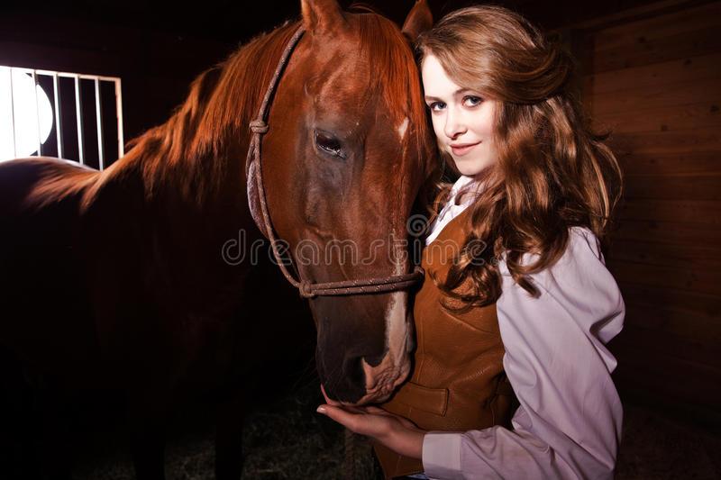 Download Beautiful Caucasian Cowgirl With A Horse Stock Photo - Image: 10395700