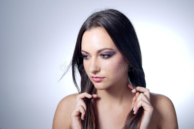 Download Beautiful Caucasian Girl Holding Her Hair Stock Photo - Image of skin, model: 19860106